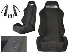 NEW 1 PAIR BLACK CLOTH & BLACK STITCHING ADJUSTABLE RACING SEATS CHEVROLET **