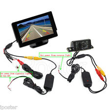 "4.3"" LCD Monitor Car Wireless Back Up Camera Kit Rear View Parking Night Vision"