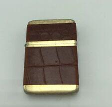 Storm King Windproof Cigarette Lighter Brown Faux Snakeskin Vintage