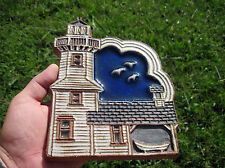 Hanging Light House Rainbow Pottery Trivet Colorful Signed