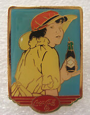 Coca-Cola 20s Calendar Pin-Up Girl Yellow Hat Coke Bottle Lapel Pin Tie Tac 1994