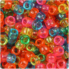 500 Jelly Mix Transparent 9mm Barrel Plastic Pony Beads Made in the USA