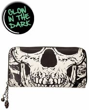 BANNED GLOW IN THE DARK SKULL WALLET PURSE TATTOO PSYCHOBILLY PUNK GOTH BIKER