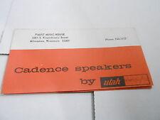 VINTAGE  MUSICAL INSTRUMENT CATALOG PRICE LIST - CADENCE SPEAKERS