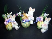 THREE 1993 MOREWOOD ENESCO EASTER BUNNIES WITH EGGS