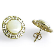 14K GOLD ROUND MOTHER OF PEARL GREEK KEY EARRINGS Style Number: E509