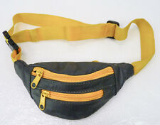 Vintage Gray & Yellow Leather Mini Fanny Pack Waist Bag KIDS Child Size