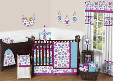 PURPLE TURQUOISE AND WHITE FLOWER GARDEN BUTTERFLY GIRL BABY BEDDING 9p CRIB SET