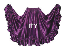 Satin 12 Yard Flamenco Skirt Belly Dance Gypsy Tribal Ruffle Costume Jupe ATS