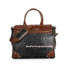 Samantha Brown Nylon and Croco-Embossed Dowel Bag Black Brand New
