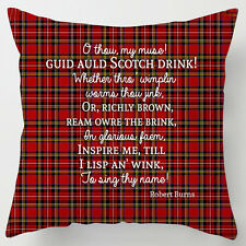 Scotch drink Burns night poem quote whisky tartan scottish cushion / pillow