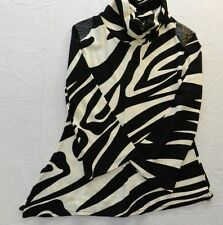 WOMENS sweater zebra striped turtle neck = MERCHANT = SIZE Small = WH88