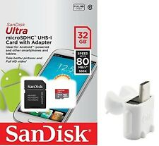 SanDisk 32GB microSD Ultra 80MB SD 32G for Samsung Galaxy Tab SDSQUNC-032G +T06W