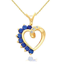 "5/8ct Blue Sapphire & Diamond Heart Pendant 14 Karat Yellow Gold 1"" Tall"
