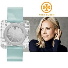 Tory Burch Women's Izzie Silver Crystal Blue Patent Leather Swiss Watch TRB3004