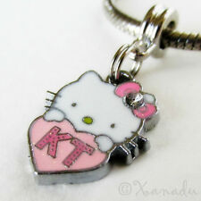 Pink Hello Kitty Heart KT European Charm Bead For Charm Bracelets And Necklaces