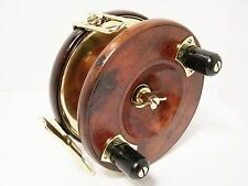 "Vintage Antique Wooden & Brass Reuben Heaton 5 ½"" Big Game Starback Fishing Reel"
