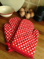 Red And White Polka Dot Oven Glove PAIR Kitchen Gift Cook Chef Her Shabby Chic