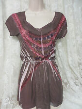 URBAN OUTFITTERS ALCHEMIC Blouse Sheer XS Top Brown Print