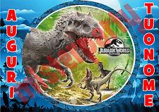 Cialda - Ostia per torte Jurassic World m1 rettangolare. Anche A3!