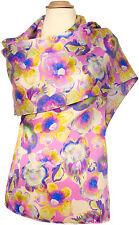 Schal 100% Seide Satin Floral Flieder Lavender 59 x 18o scarf silk soie écharpe