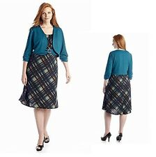 Classic Teal Jacket Plaid A-Line Dress Ensemble Career to Dinner Plus Size 18W