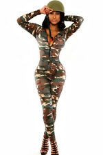 Womens army solider catsuit jumpsuit fancy dress party outfit uk 10 & 12