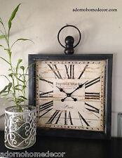 Large Metal Square Wall Clock PARIS RUSTIC DECOR Industrial Vintage Antique