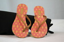 ROXY WOMAN'S CORSICA TAN MULTI-COLOR LEATHER FLIP FLOP SANDALS size 7 / Seven