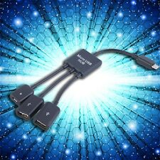 3 in 1 Micro USB HUB Male to Female Double USB 2.0 Host OTG Adapter Cable UR