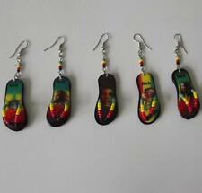 Lot of 12 pairs of Rasta Earrings. Sandals Style. Handmade in Peru