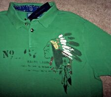 NWT Polo Ralph Lauren $98 Green INDIAN CHIEF Custom Fit Shirt Men XXL Distressed