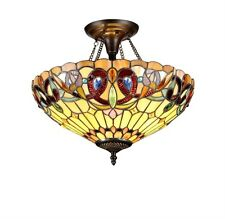 Tiffany Style Stained Glass Victorian 2 Light Semi-Flush Fixture 16 Inch Shade