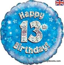 """18"""" BLUE HOLOGRAPHIC FOIL BALLOON """"HAPPY 13TH BIRTHDAY"""" TEENAGER PARTY"""