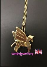 Funky Gold Origami Unicorn Necklace Kitsch Quirky Fashion Blogger Christmas Gift