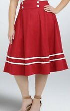 TORRID Skirt 28 Retro Chic Red Sailor Nautical Plus Size Rockabilly Pin Up Swing