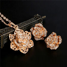 Charms Rose Flower Women 18k Gold Filled Stud Earrings Necklace Jewelry Set