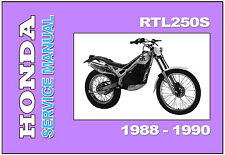 HONDA Workshop Owners Parts Manual RTL250S 1988 1989 & 1990 Spares Catalog List