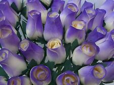 100 CREAM / CADBURYS PURPLE TIP WOODEN ROSES WEDDING FLOWERS WHOLESALE SUPPLIES