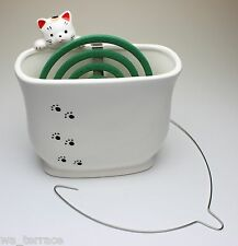 Hang In There Clinging Cat Look Over Wall Ceramic Mosquito Coil/Incense Holder