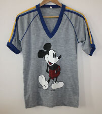 Mickey Mouse Disney Vintage T-Shirt Tee Ringer 60s 70s Made USA Paper Thin Small