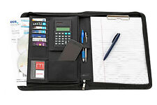 Executive A4 Bonded Leather Conference Documents Folder + Pen And Calculator