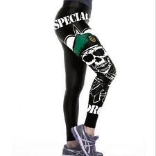 Women Wide Belt Legging letter skull with gun Printed High Waist elastic legging