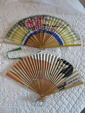 VINTAGE HAND FANS JAPAN AIRLINES & HANDPAINTED PAPER HAND FANS *LOT OF 2*