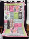 Pottery Barn Teen PBT Bright Blossom Floral Patchwork Quilt Twin Pink Brown