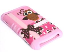 iPod Touch 4th Gen - HARD & SOFT RUBBER HYBRID CASE BROWN OWL / PINK BUTTERFLIES