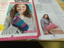 Ladies Snuggle-Up Sweater Knitting Pattern (8-22) & Rainbow Mittens