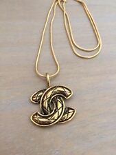Vintage Quilted Chanel CC Pendant Necklace