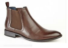 Mens Leather Lined Formal Chelsea Ankle Brogue Shoes Boots UK Sizes 6-12 New