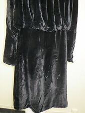 Vtg 1930s Pane Silk Velvet Coat Long Raglan Sleeves Ruched Collar Bubble Back